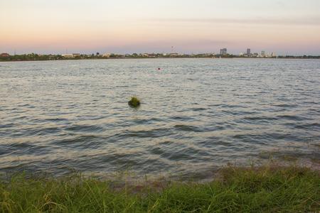 big lake view with sunset sky sunset