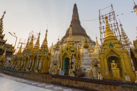 Shwedagon pagoda at Yangon in Myanmar at sunny time