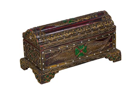 Wooden chest of thai art isolated with white background