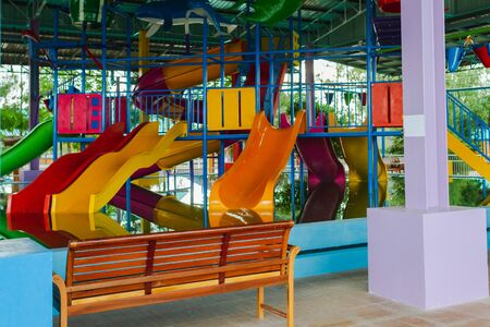 colorful slider tube of water play park