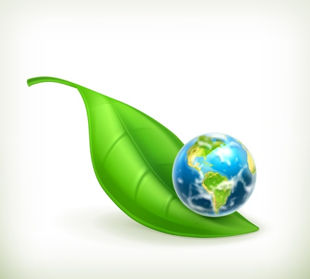 wereldbol groen: Green World, illustratie