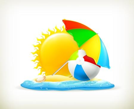 vibrant colors fun: Estate icona, illustrazione