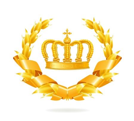 corona reina: Vintage emblema de oro Vectores
