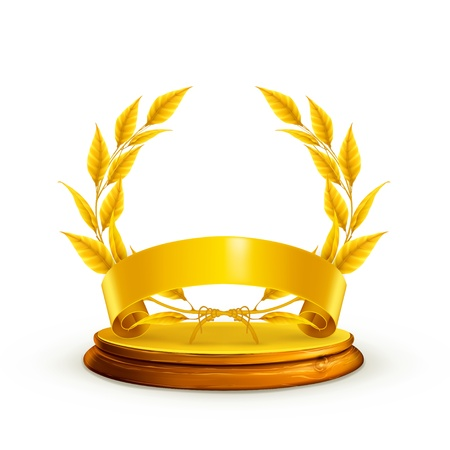victory stand: Golden wreath