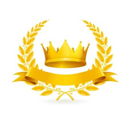 king crown: Vintage emblem, gold Illustration