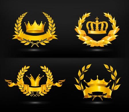 corona rey: Emblema de la vendimia Vectores