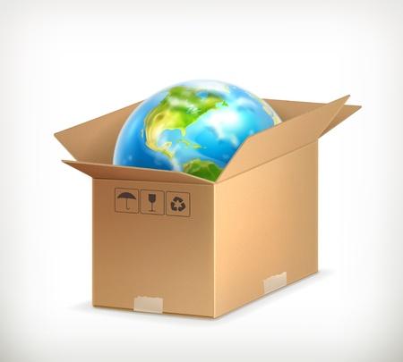 World in box Stock Vector - 13680354