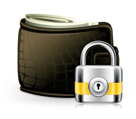 iron defense: Lock and wallet Illustration