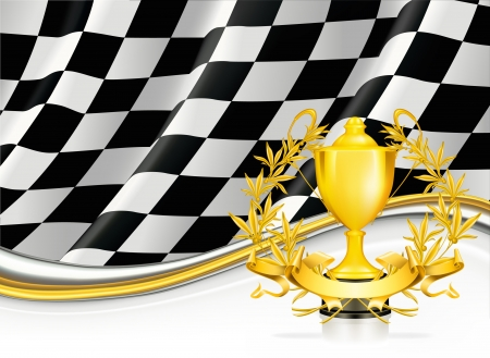 finish flag: Background with a Trophy