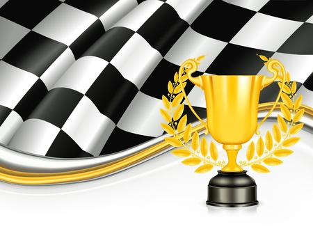 checker flag: Background with a Trophy