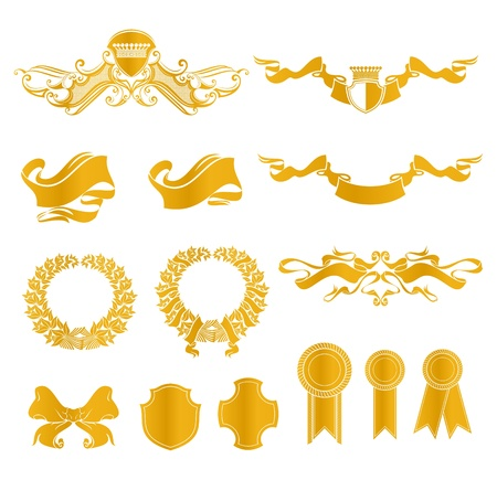 Set of heraldic elements Stock Vector - 13695623