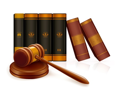 judge hammer: Gavel and books Illustration