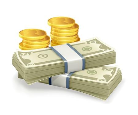cash money: Billete de banco y monedas