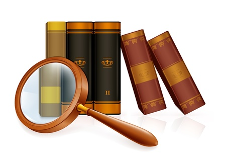 Magnifying glass and books Stock Vector - 13695859