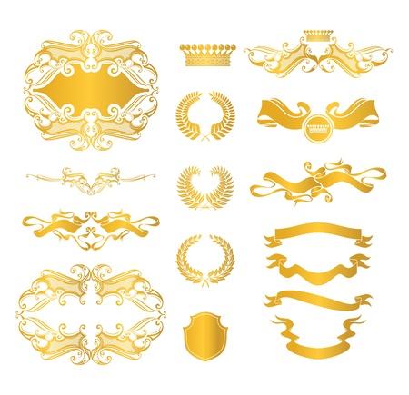 antique jewelry: Set of heraldic elements