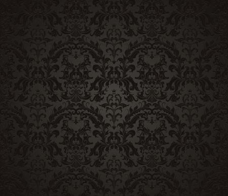 Naadloze behang patroon, zwart Vector Illustratie