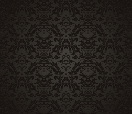 baroque pattern: Seamless wallpaper pattern, black Illustration