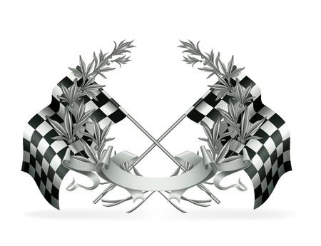 cuadros blanco y negro: Corona de flores y banderas Racing Vectores