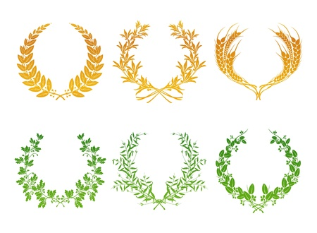 laurel branch: Wreaths, set Illustration