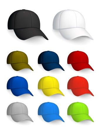 Set of Baseball caps, isolated on the white Stock Vector - 13696252