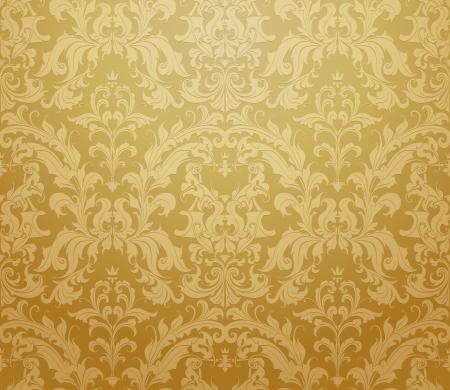 antiek behang: Bruine naadloze achtergrond patroon Stock Illustratie