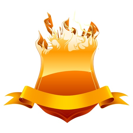 fire place: Burning shield emblem