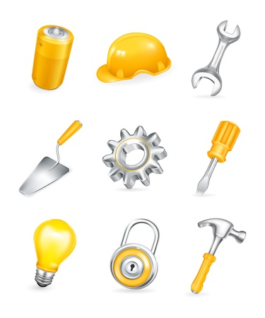 safety equipment: Repair, icon set