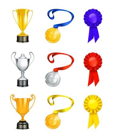 1 place: Trofeo, icono conjunto Vectores