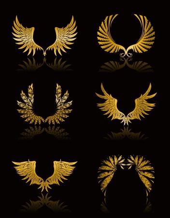 angel silhouette: Set of Wings