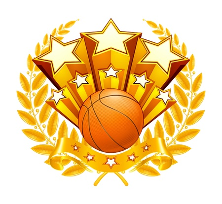 canestro basket: Basket Emblem Vettoriali
