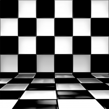 checkerboard backdrop: Checked room