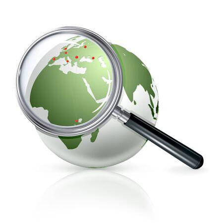 magnifier: Globe zoom Illustration