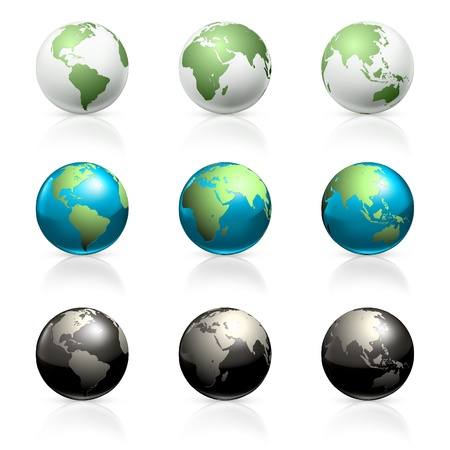 world group: Globes set Illustration