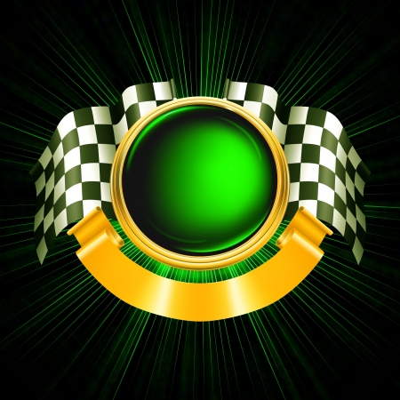 checker flag: Sports Emblem Illustration