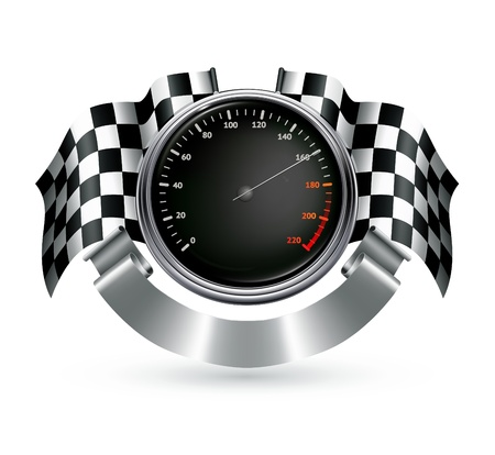 checkered flag: Sports Emblem Illustration