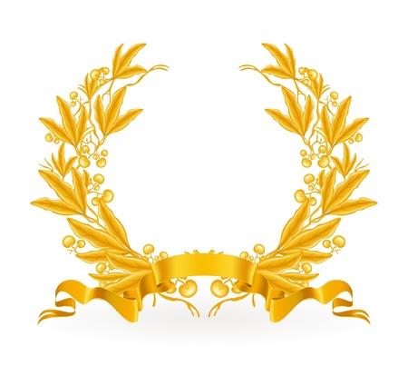 laurel leaf: Corona de laurel de oro