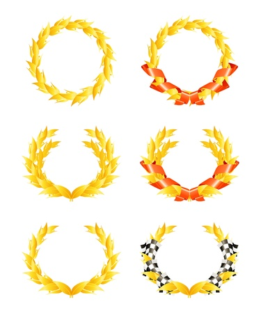 greek flag: Wreaths, set Illustration