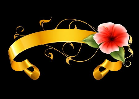 Flower and ribbon on black Stock Vector - 13738725