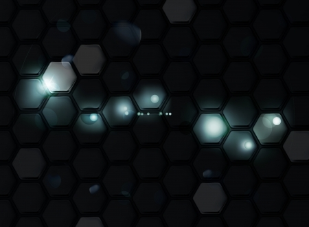 hexagon background: Black Background of Hexagons Illustration