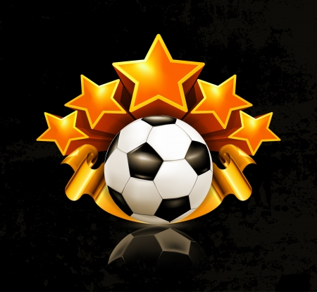 five stars: Orange sports emblem, football Illustration