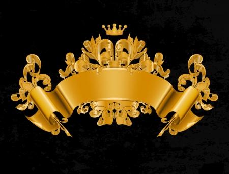 corona real: Vintage emblema, Vector Vectores