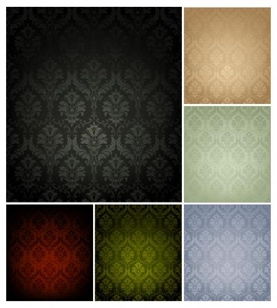 fondo de pantalla: Patrón de papel tapiz sin fisuras, un conjunto de seis colores