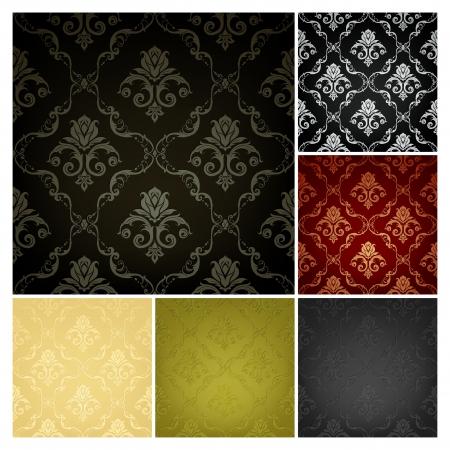 antiek behang: Naadloze Wallpaper Pattern, set van zes kleuren