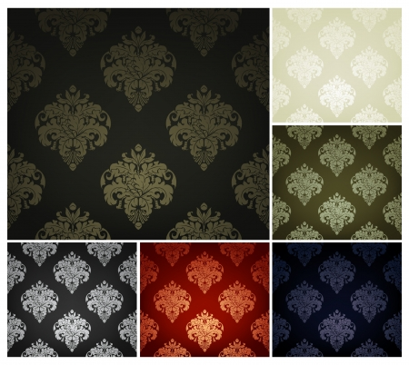 green carpet: Seamless Wallpaper Pattern, set of six colors