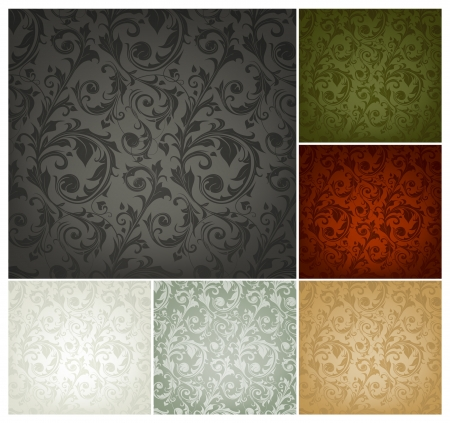 victorian wallpaper: Seamless Wallpaper Pattern, set of six colors