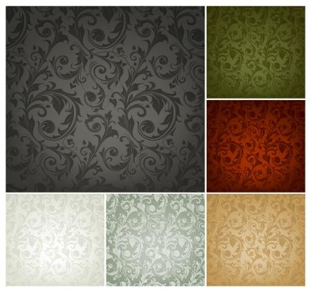 floral carpet: Seamless Wallpaper Pattern, set of six colors