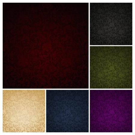 어두워: 6 색 세트 원활한 벽지 패턴,