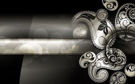Black Paisley Pattern background Vector