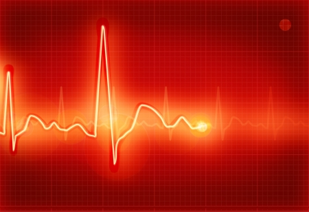 electrocardiogram: Electrocardiogram red Illustration
