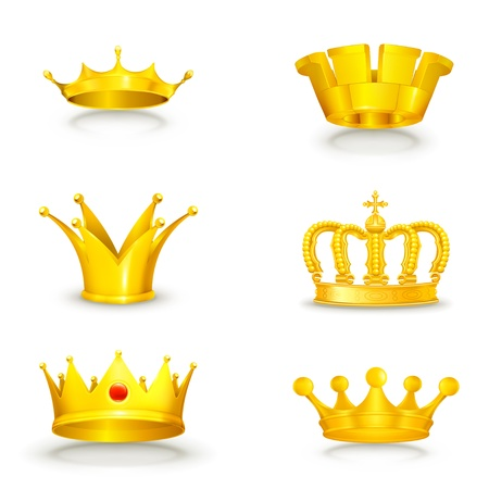 Crown set on white Vector